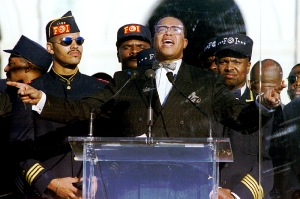 Nation of Islam leader Louis Farrakhan addresses hundreds of thousands of marchers at the Mall in Wa..
